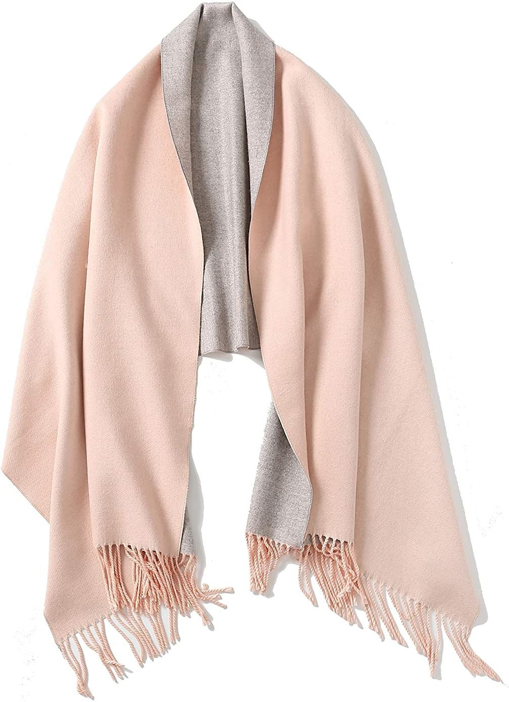 The scarf in pink gray