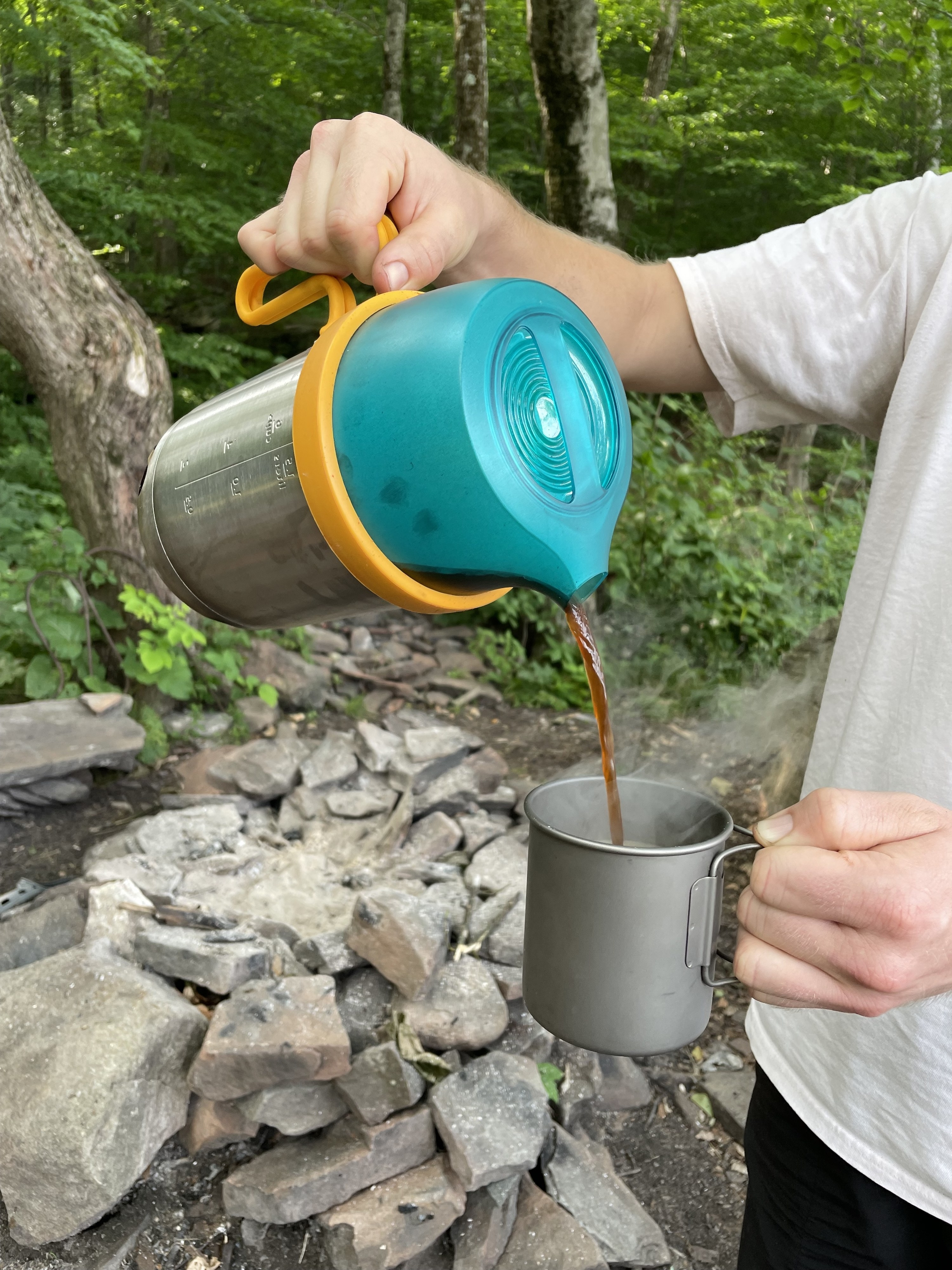 coffee being poured from the Biolite water heater