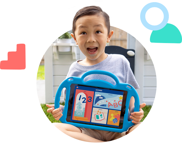 child model holding an iPad with Homer program running on the screen