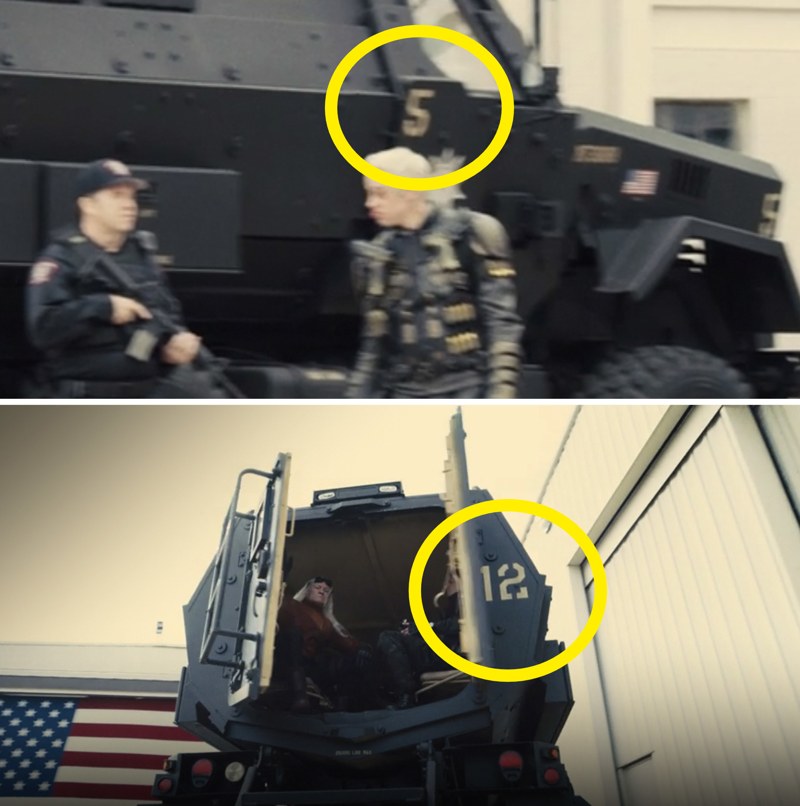 """A close-up of the numbers """"5"""" and """"12"""" on trucks"""