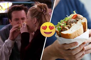 Chandler and Phoebe bit into the same sandwich. And two hands hold a sub sandwich wrapped in paper