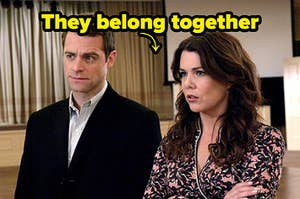 """lorelai and christopher from gilmore girls with """"they belong together"""" written over them"""