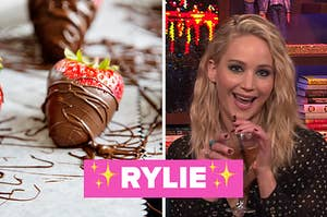 chocolate strawberry next to jennifer lawrence with mouth open, drinking wine