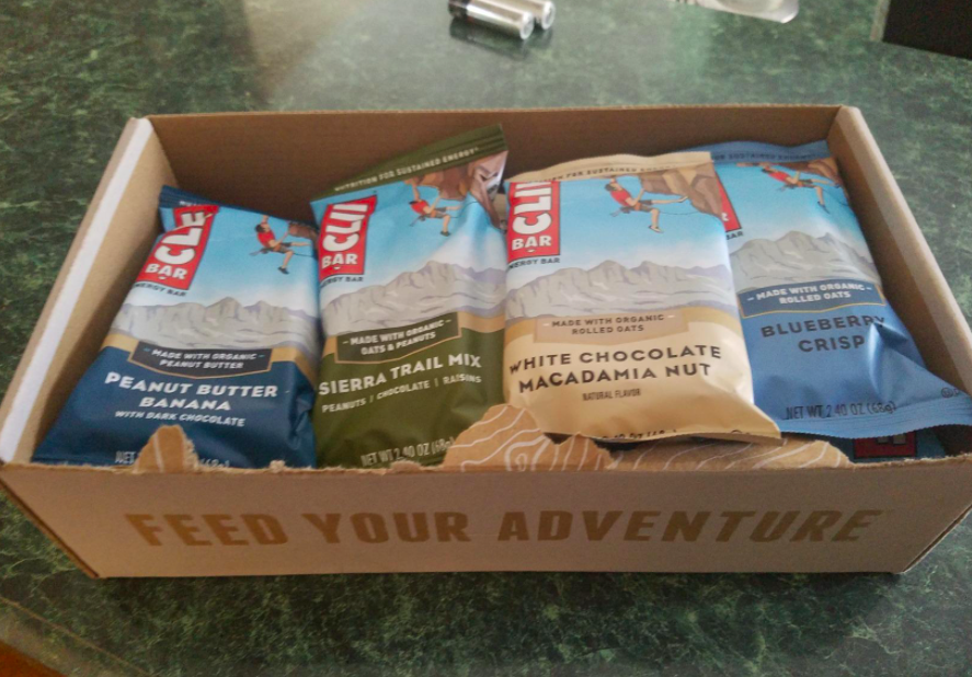 A customer review photo of the box of Clif Bars