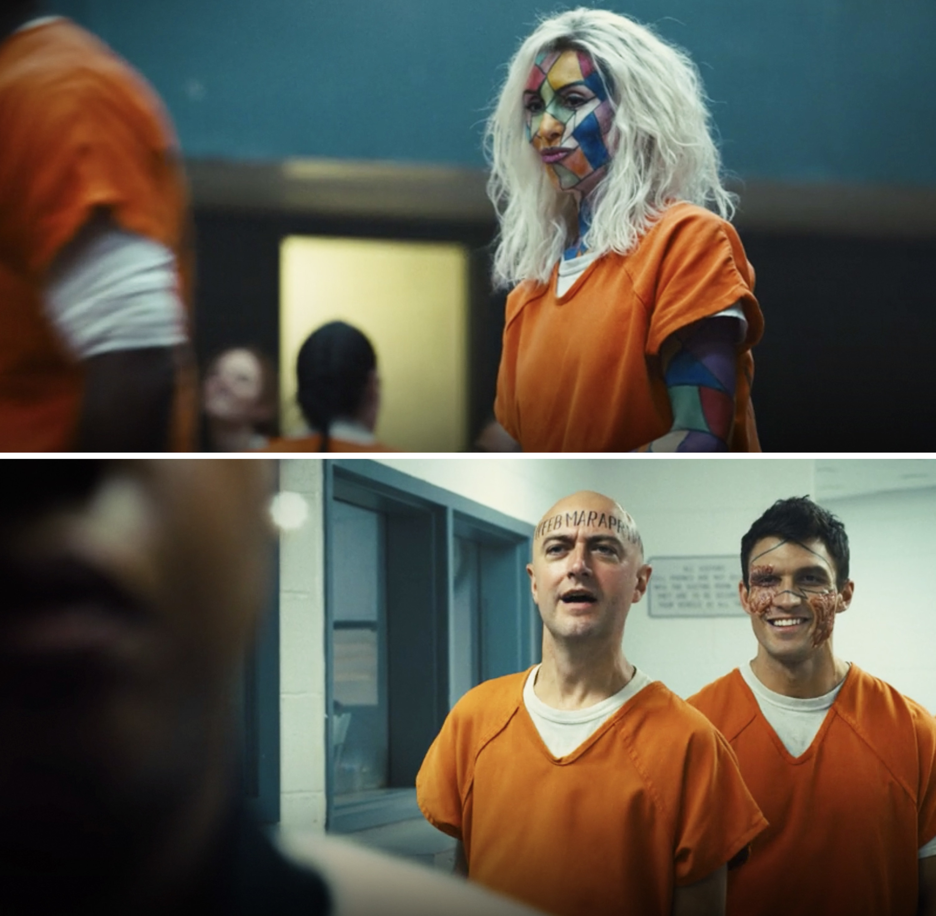Kaleidoscope, Calendar Man, and Double Down in orange prison outfits