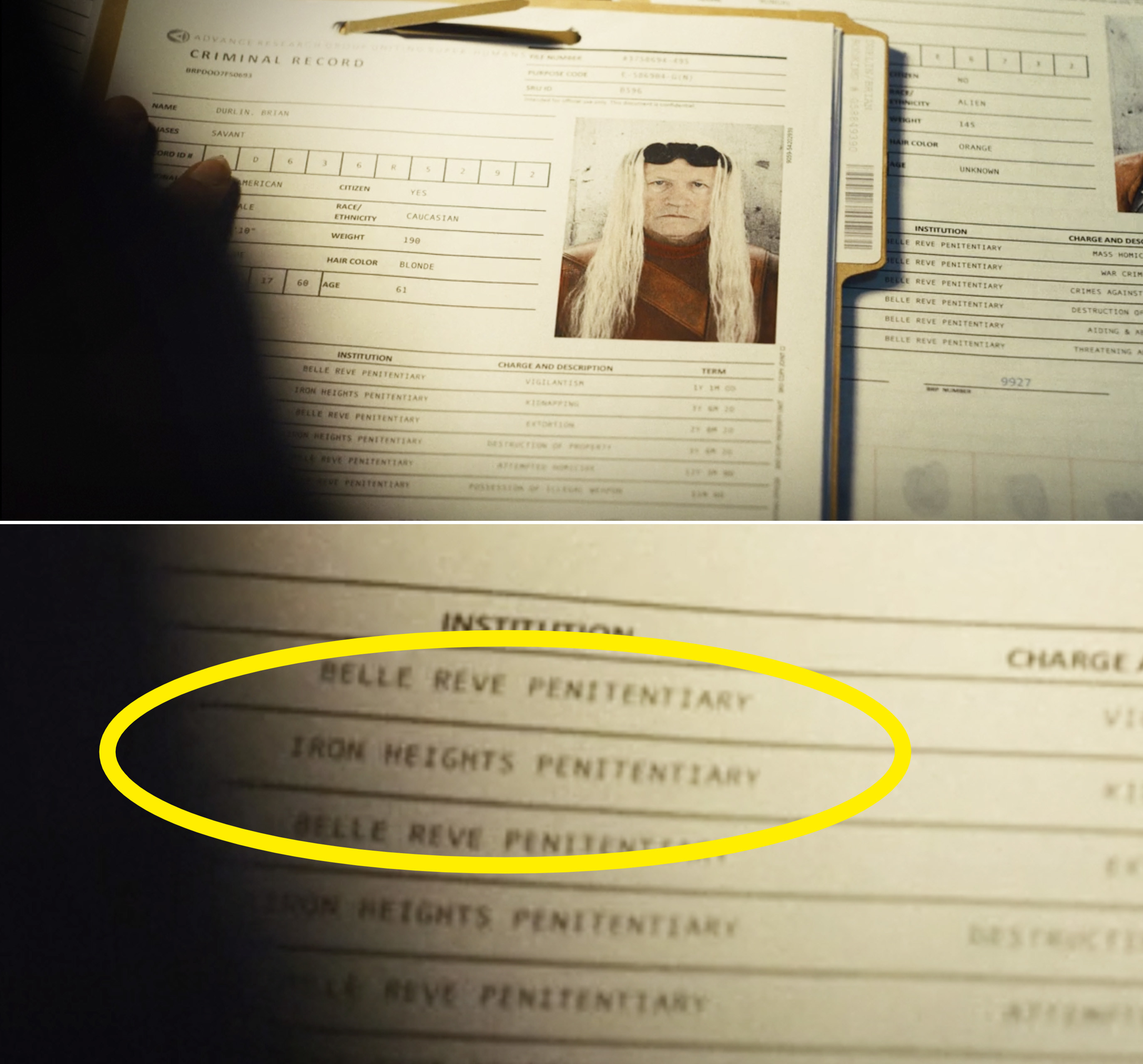 """A close-up of Savant's file reading """"Iron Heights Penitentiary"""""""