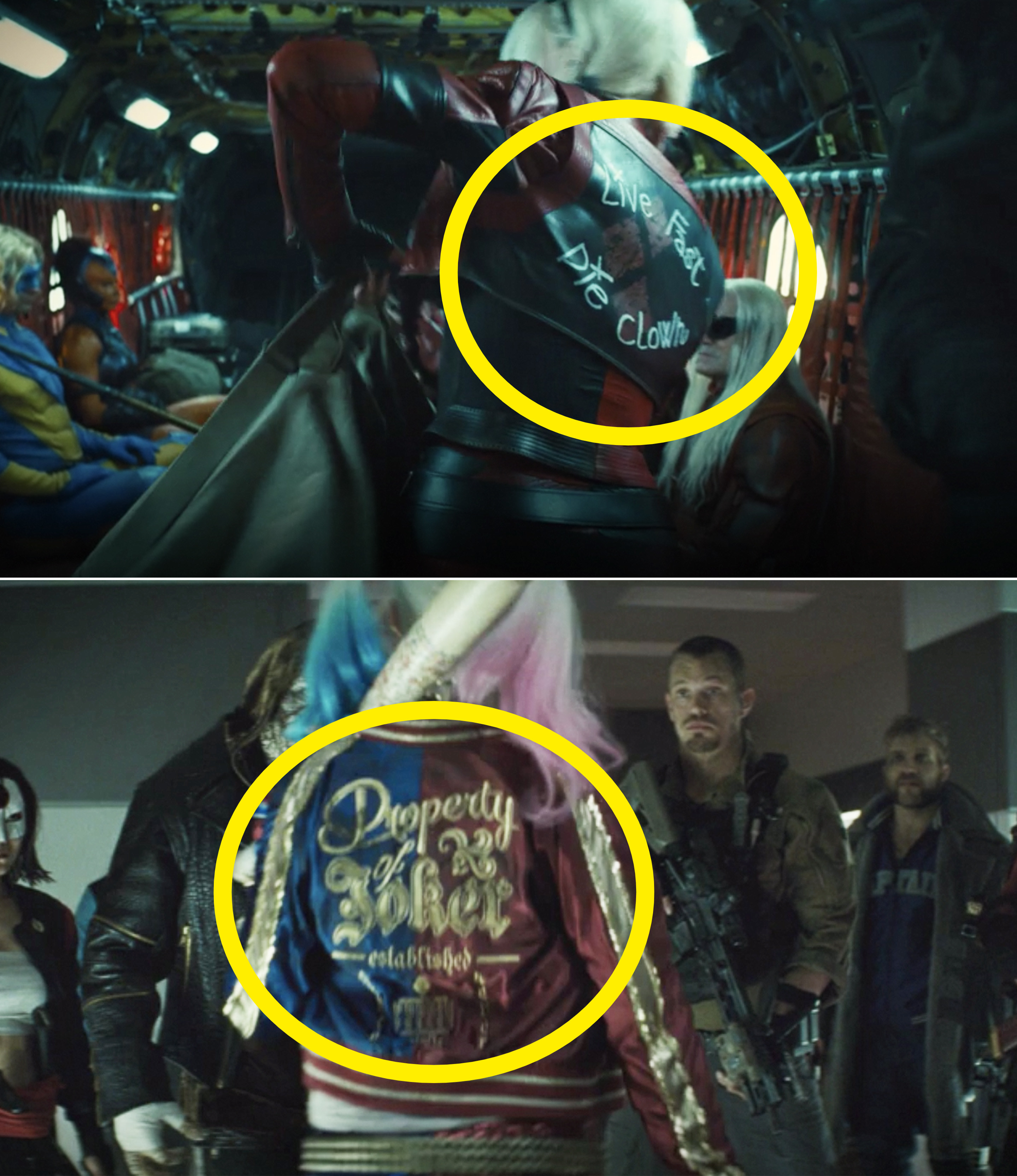 Harley's jacket in The Suicide Squad vs. in 2016