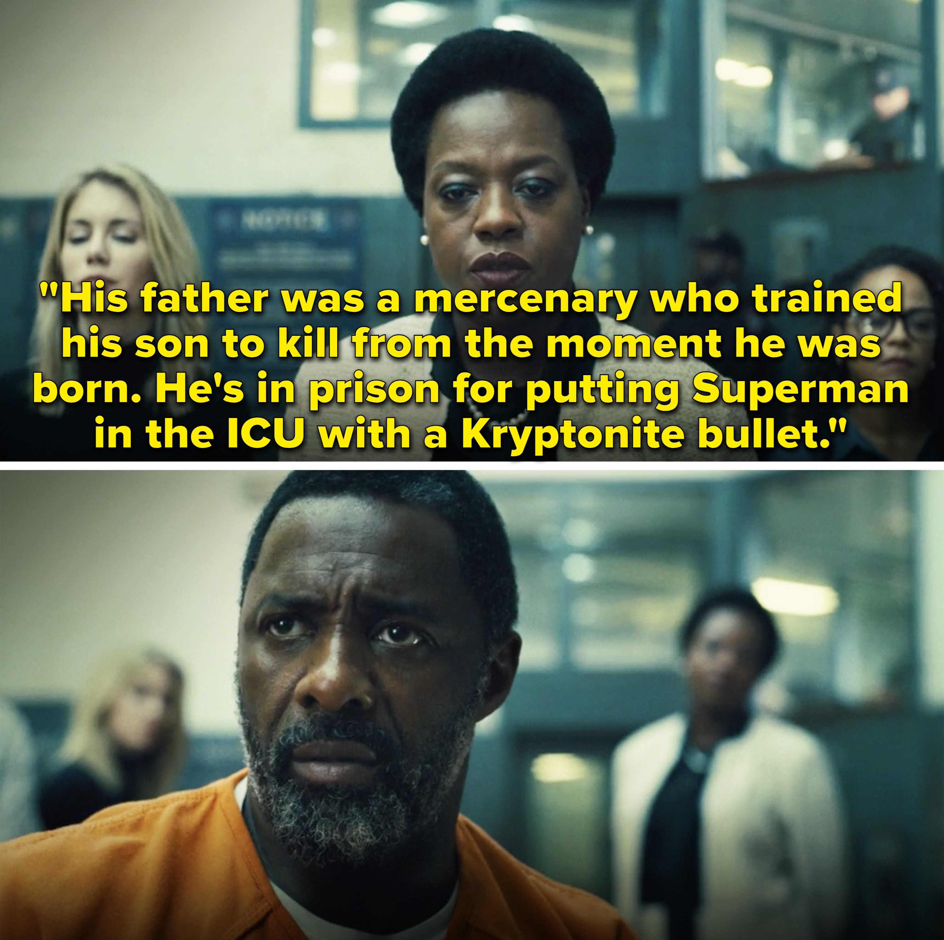 """Amanda saying,""""He's in prison for putting Superman in the ICU with a Kryptonite bullet"""""""