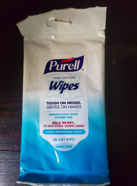 A customer review photo of one of the packs of wipes