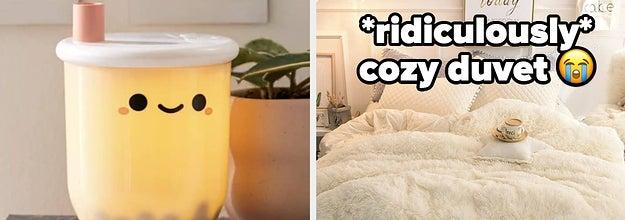 bubble tea lamp and furry duvet
