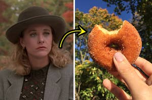 sally from when harry met sally on the left and an apple cider donut on the right