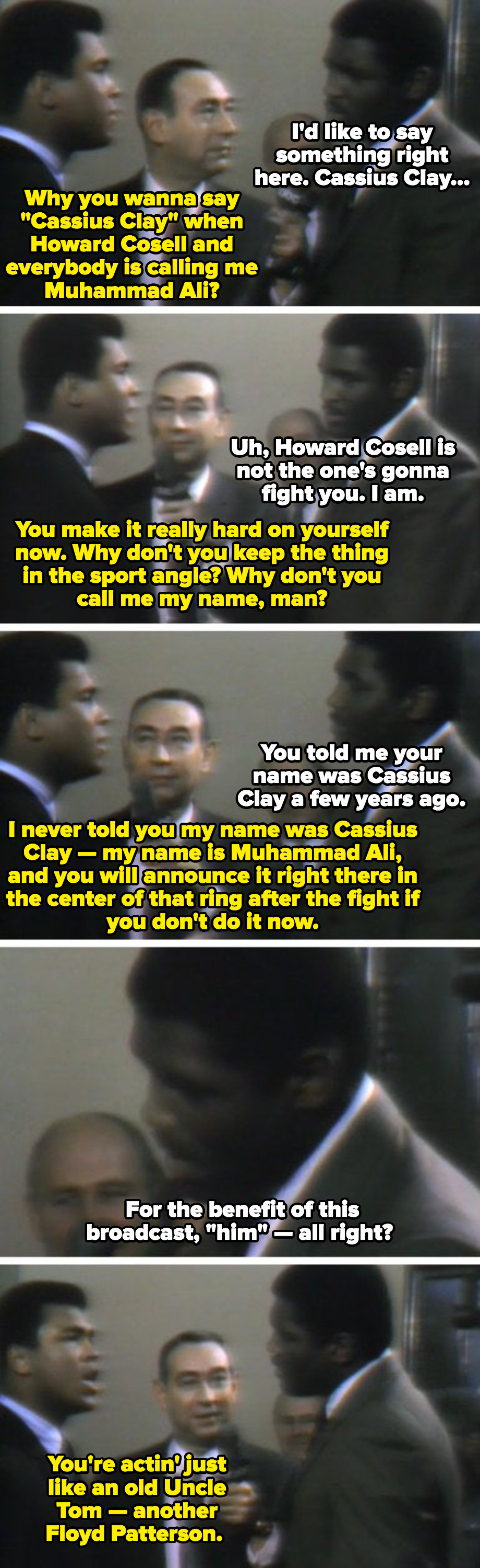 Muhammad Ali and Ernie Terrell having an argument during a TV broadcasting about Ali's name, and why Terrell refused to call him by it