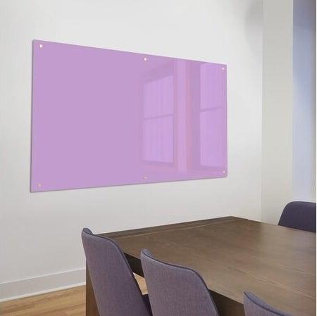 purple glass board on meeting room wall