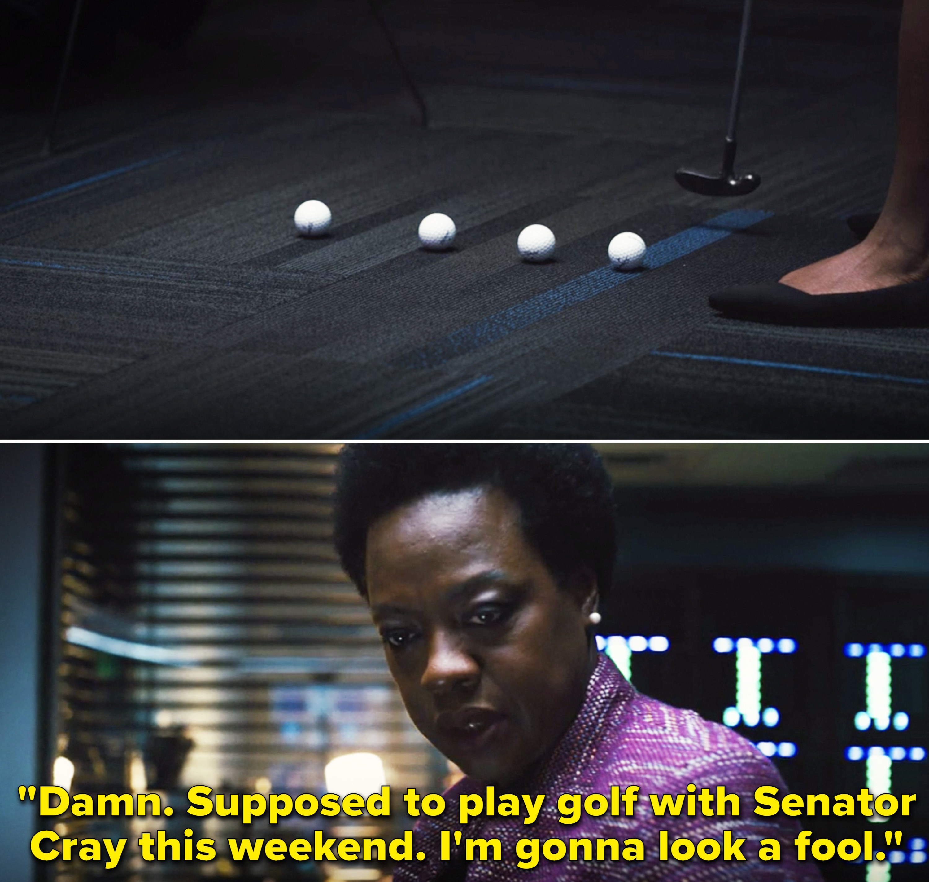 """Amanda saying, """"Damn. Supposed to play golf with Senator Cray this weekend. I'm gonna look a fool"""""""