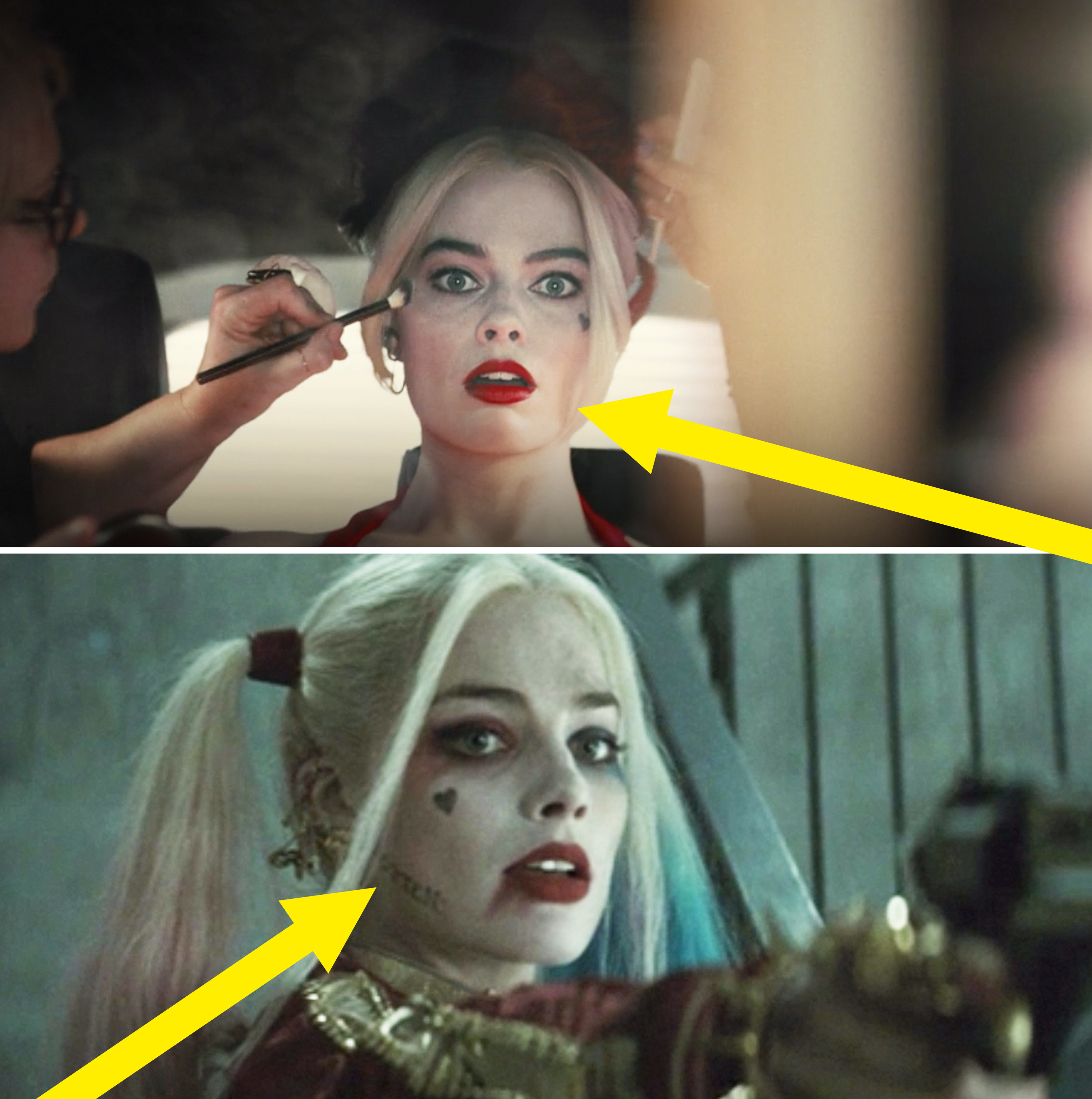 """Harley without the """"rotten"""" tattoo vs. her with it"""