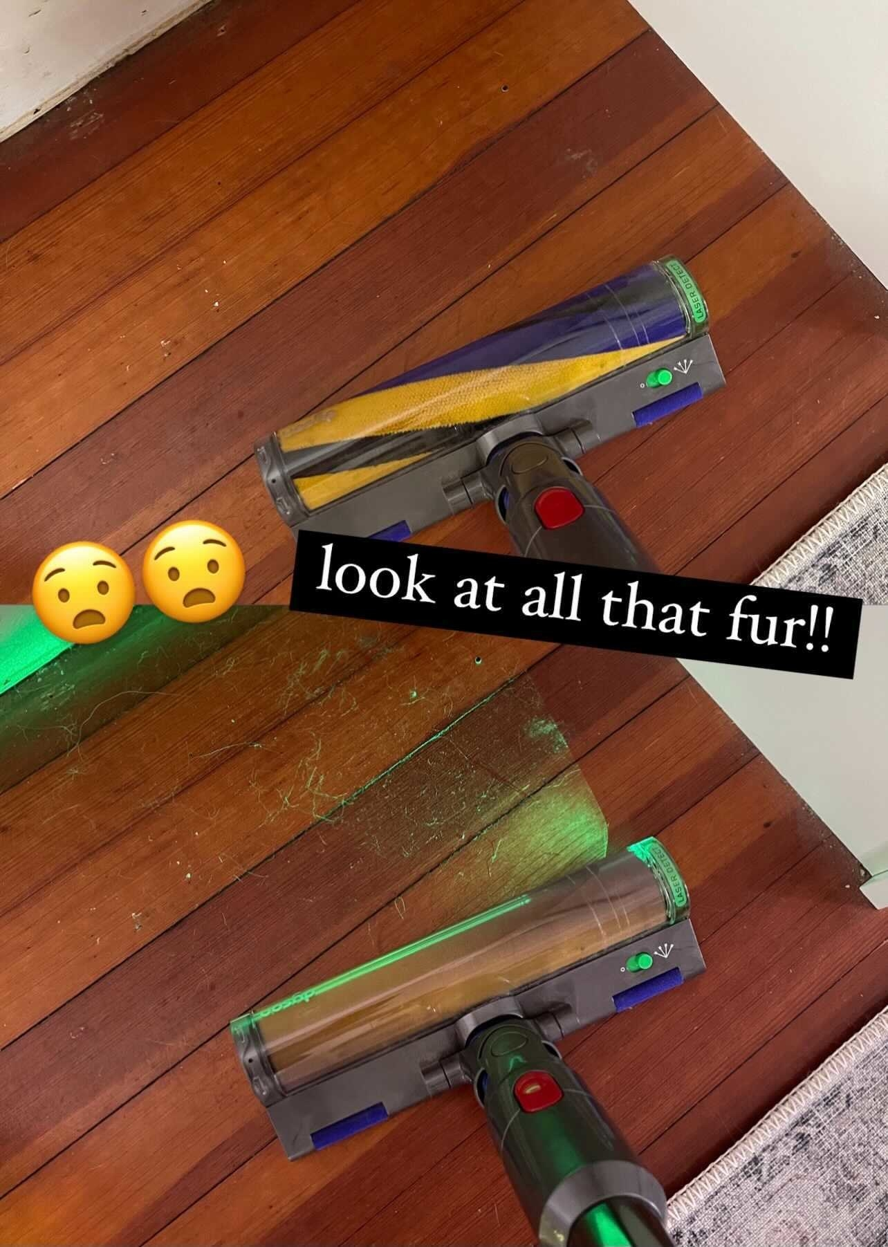 """The Dyson Detect vacuum off and on in a comparison photo to show all the hidden fur, text overlay says """"look at all this fur"""""""
