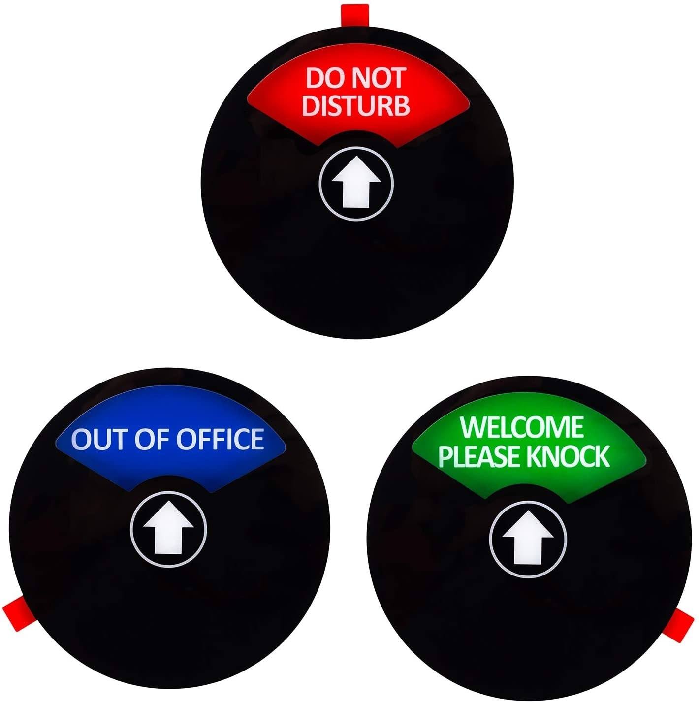 """A small circular dial sign you can turn to say """"do not disturb,"""" """"out of office,"""" or """"welcome please knock"""""""