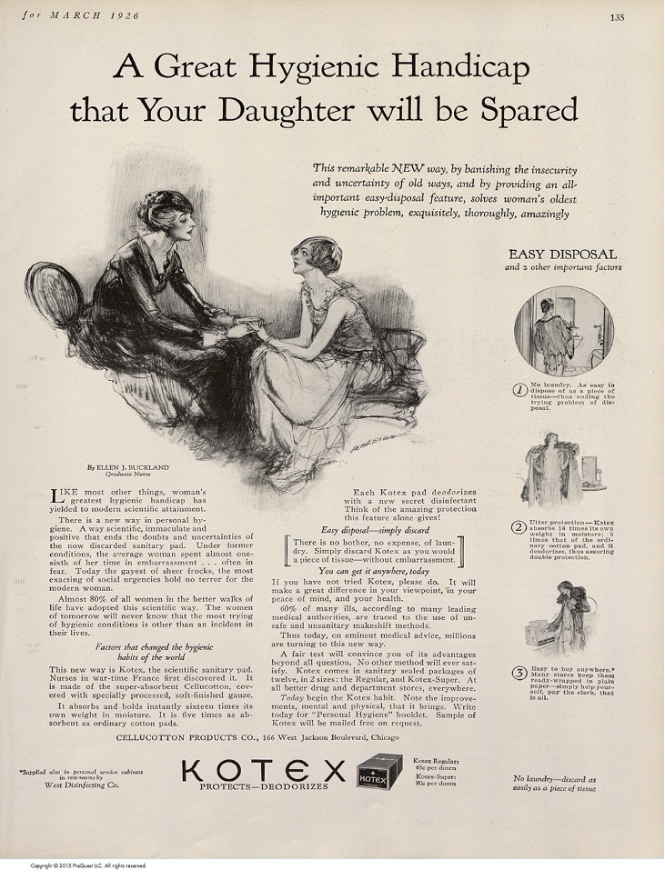 """Vintage Kotex ad saying, """"A great hygienic handicap that your daughter will be spared"""""""