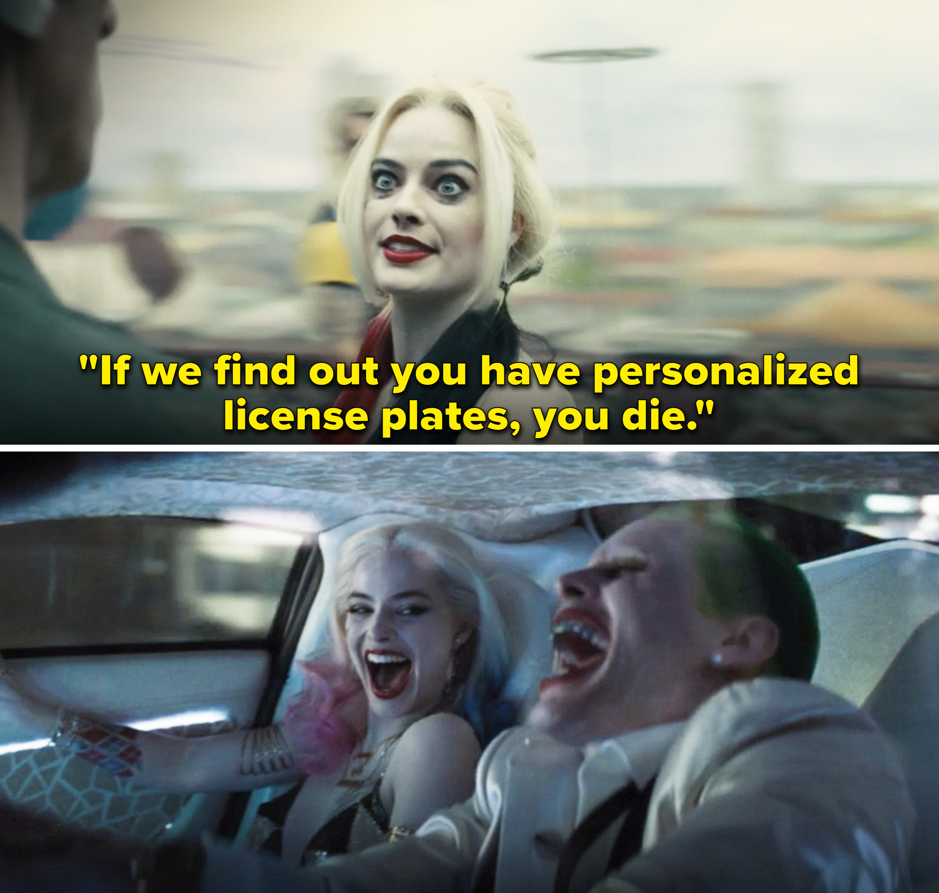 """Harley saying,""""If we find out you have personalized license plates, you die"""""""