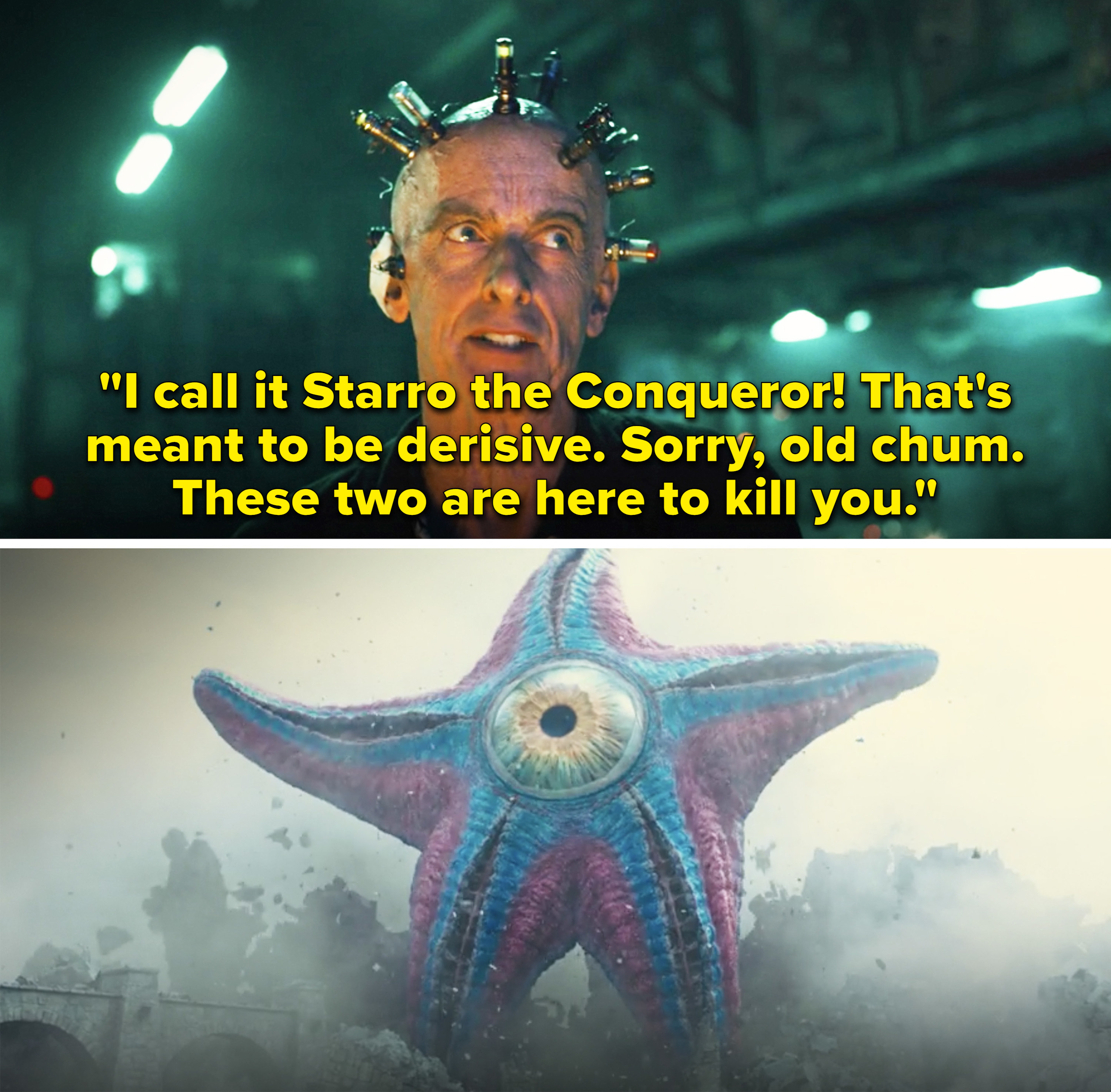 """Thinker saying,""""I call it Starro the Conqueror! That's meant to be derisive. Sorry, old chum. These two are here to kill you"""""""