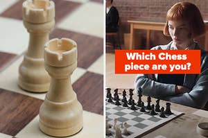 """A Rook is on the left with """"Which Chess  piece are you?"""" written above a woman playing chess"""