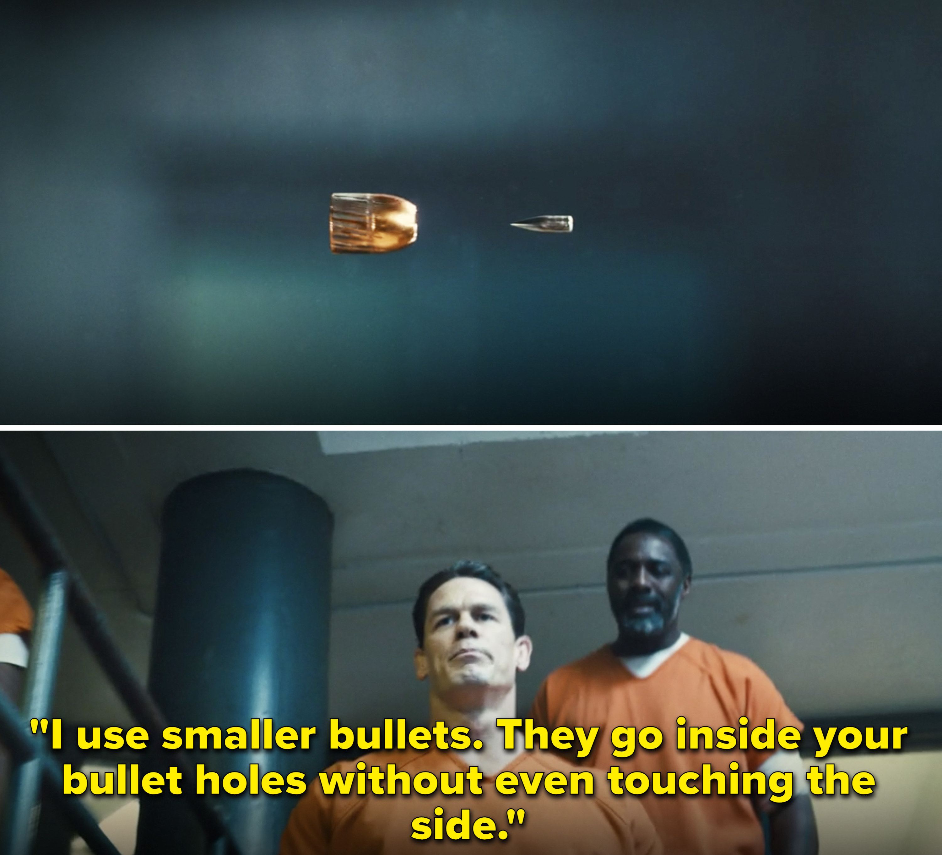 """Peacemaker saying,""""I use smaller bullets. They go inside your bullet holes without even touching the side"""""""