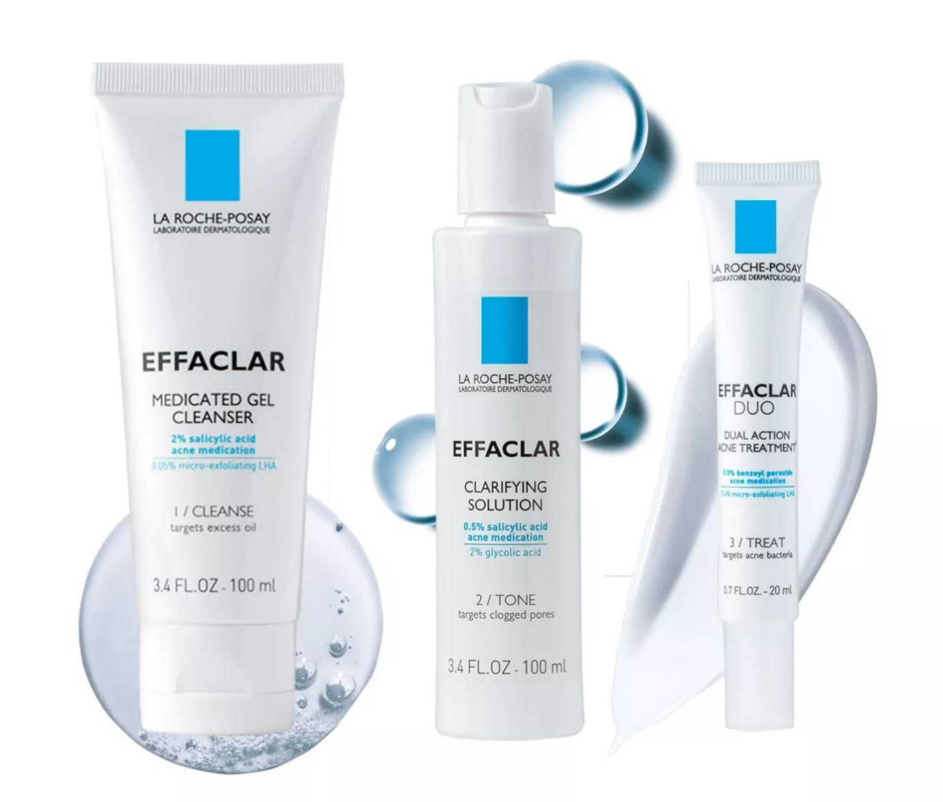 La Roche-Posay Effaclar Acne System products next to each other