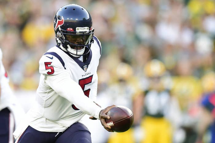 Texans white uniform with blue helmets and red lettering