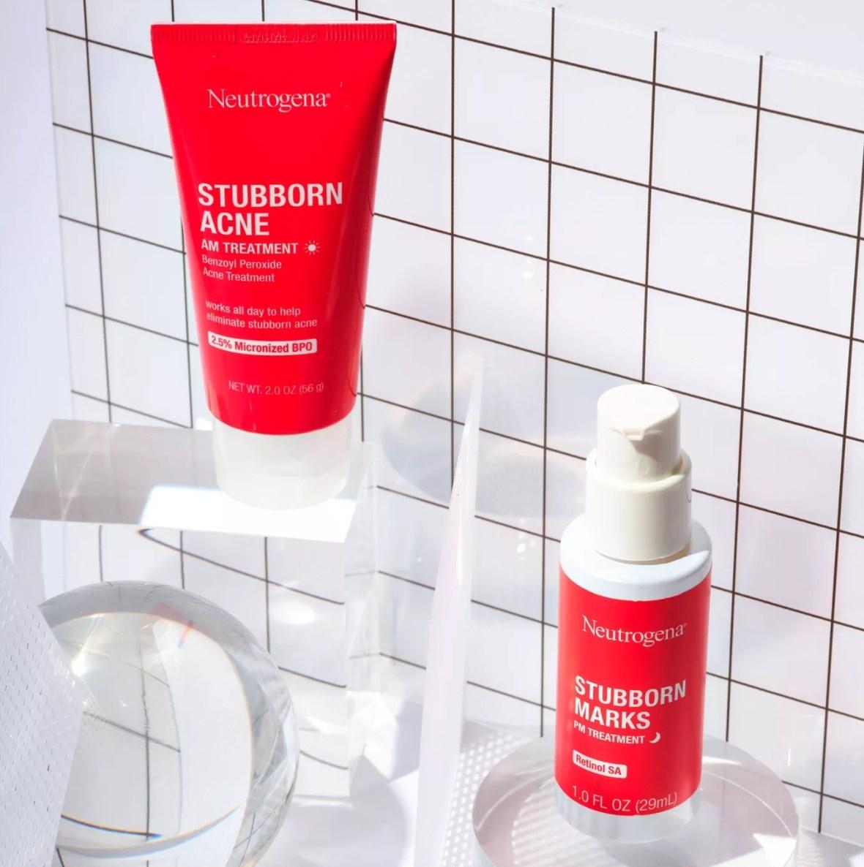 Neutrogena Stubbon Marks products on bathroom shelf