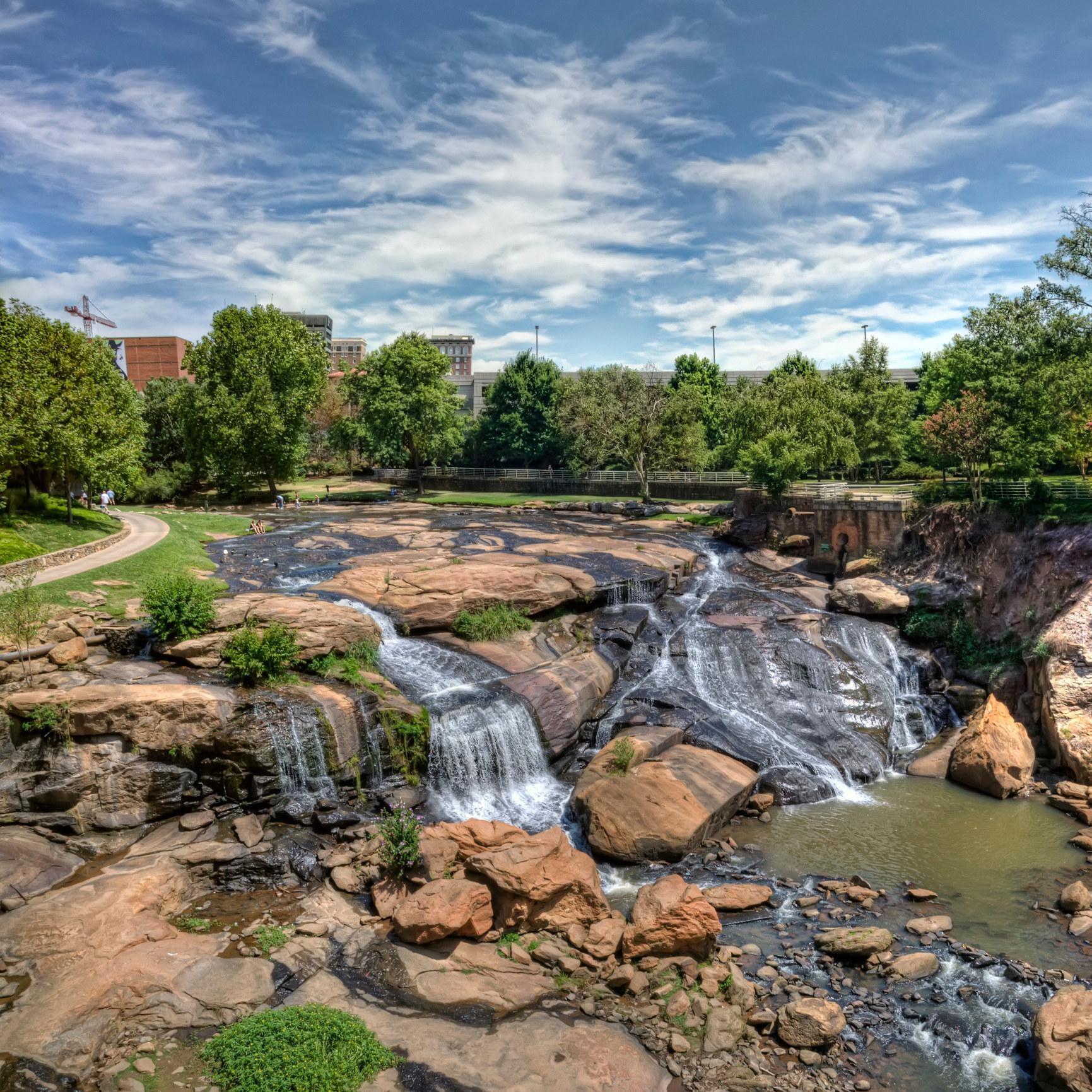 A waterfall in Greenville, SC.