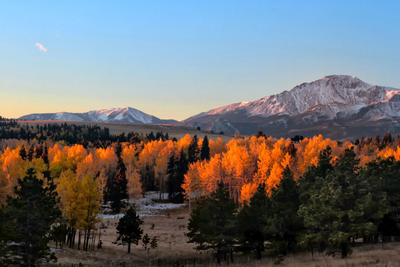 Sunrise on Pike's Peak, Colorado.