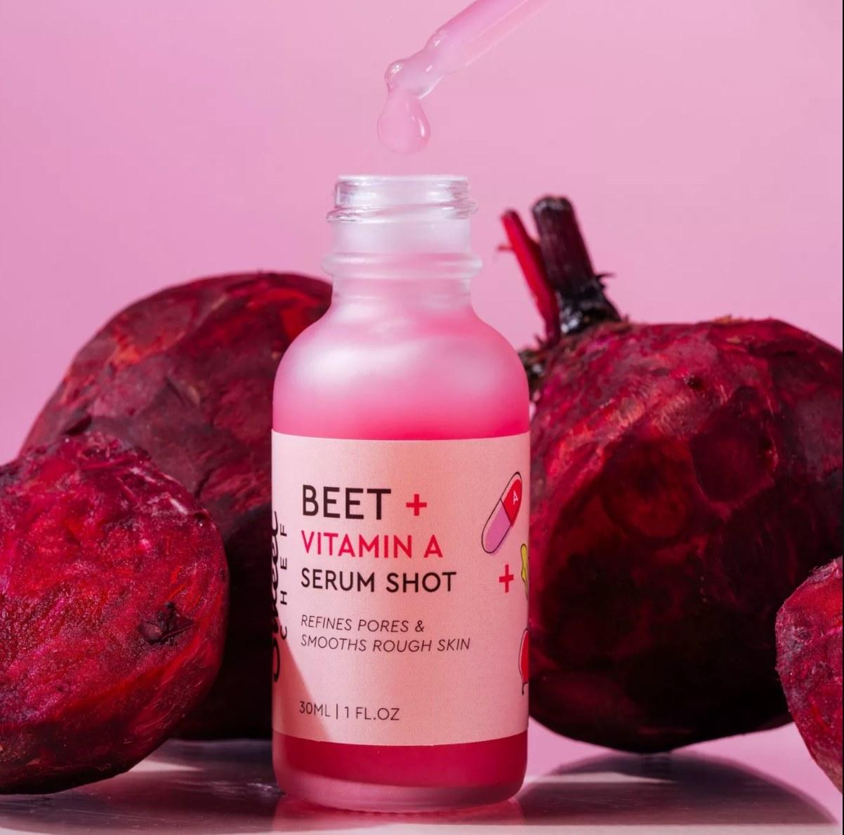 Sweet chef beet shot next to actual beets
