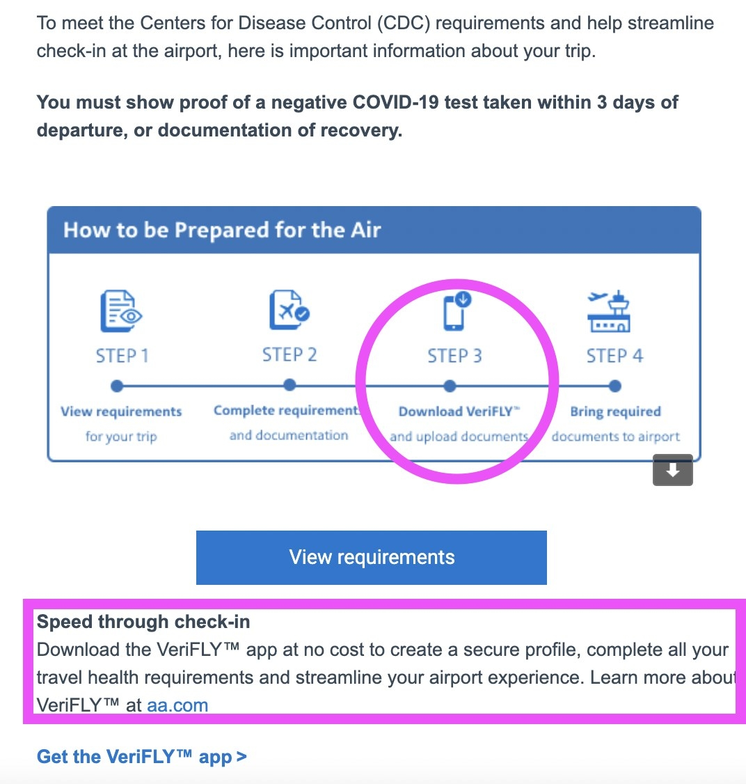 Screenshot of an American Airlines check-in email
