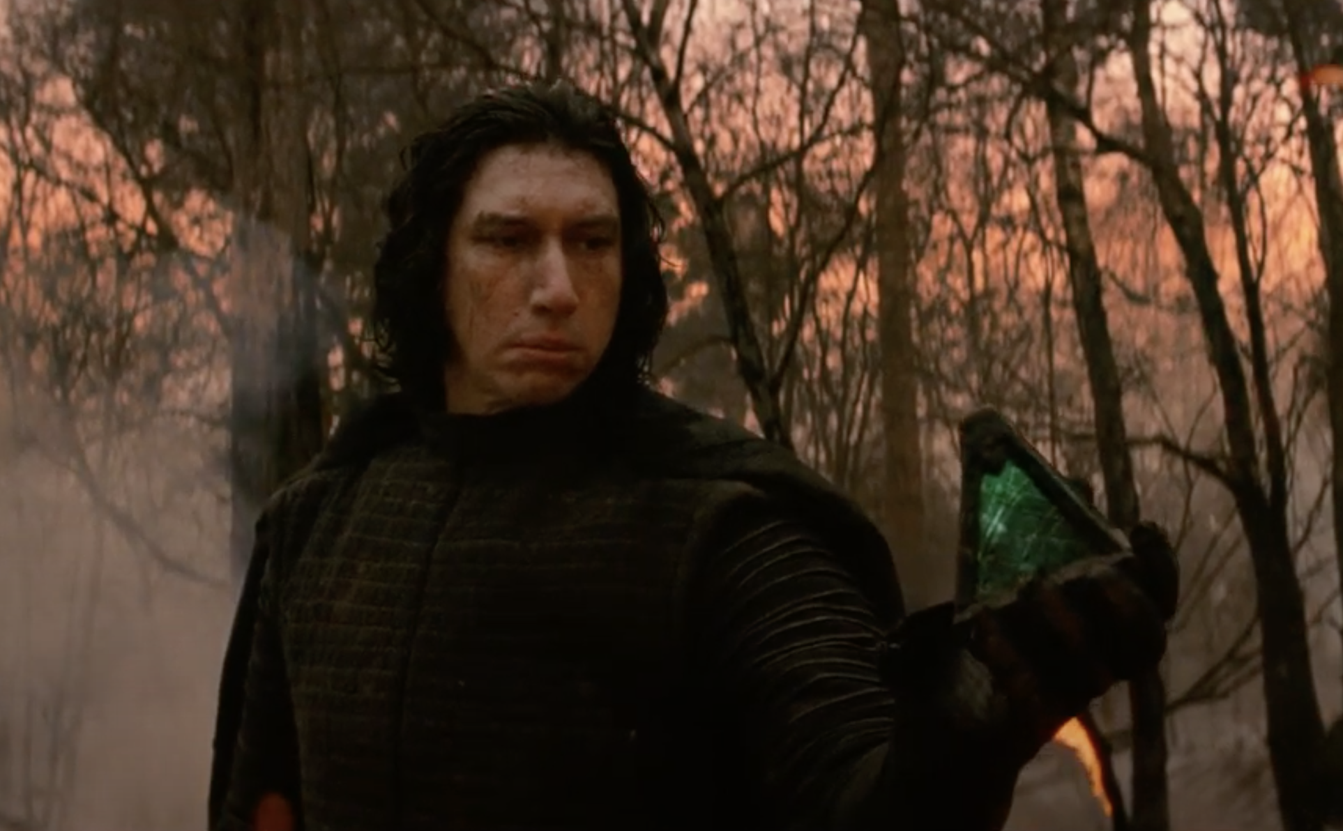 Kylo Ren holding a pyramid in his hand