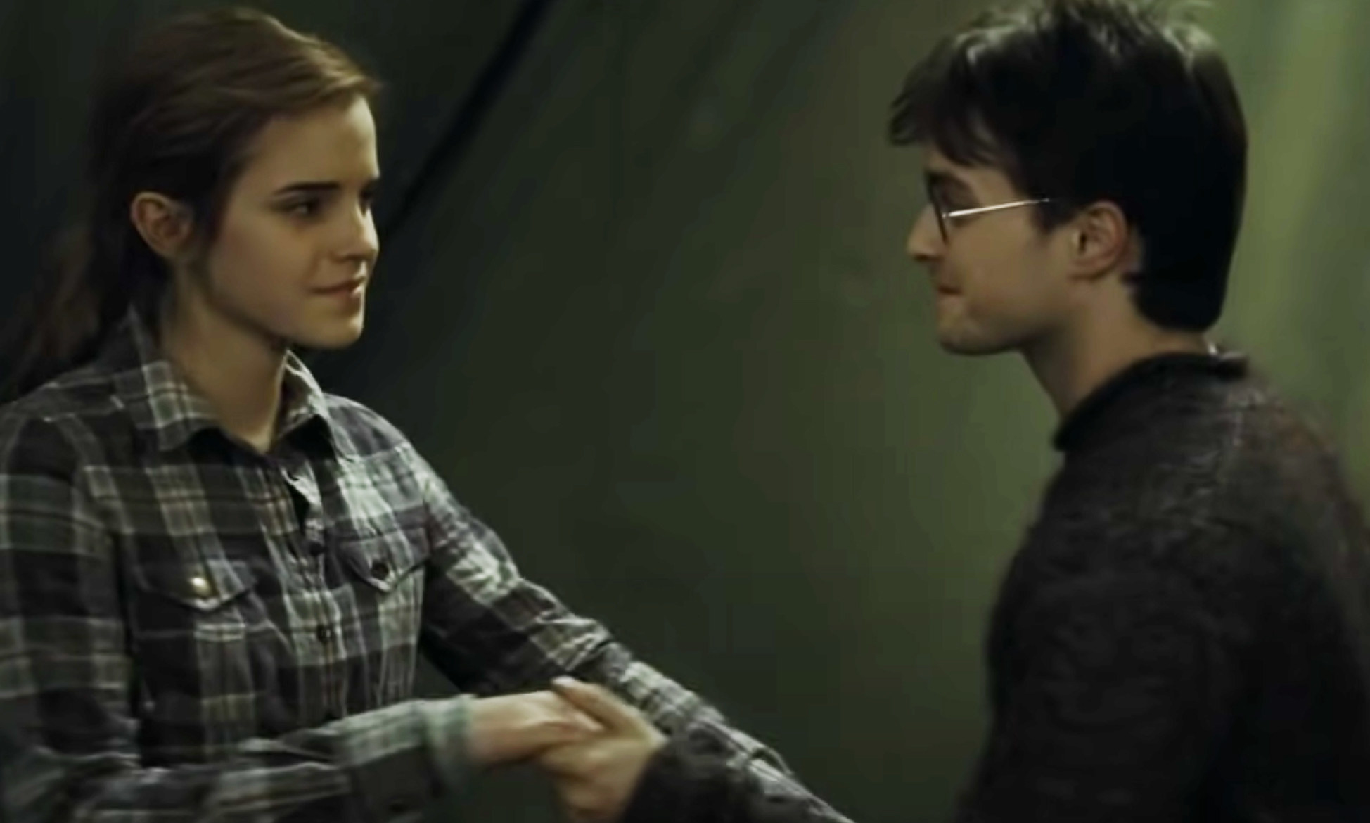 Harry dancing with Hermione