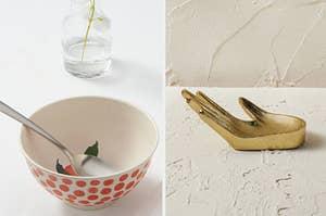 a polka dot bowl; a hand-shaped bowl