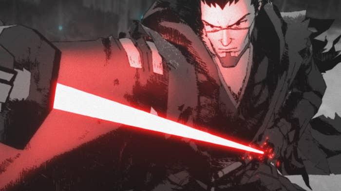 Samurai-like anime character draws lightsaber from sheath