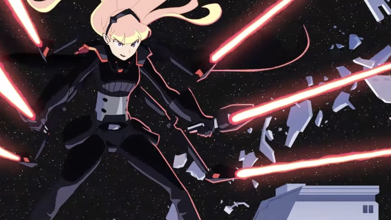 Anime character holds six lightsabers in her six hands