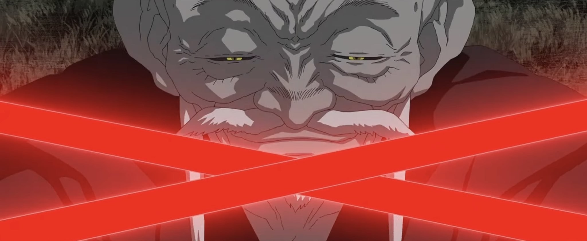 Old man anime character smirks with two red lightsabers crossing his face