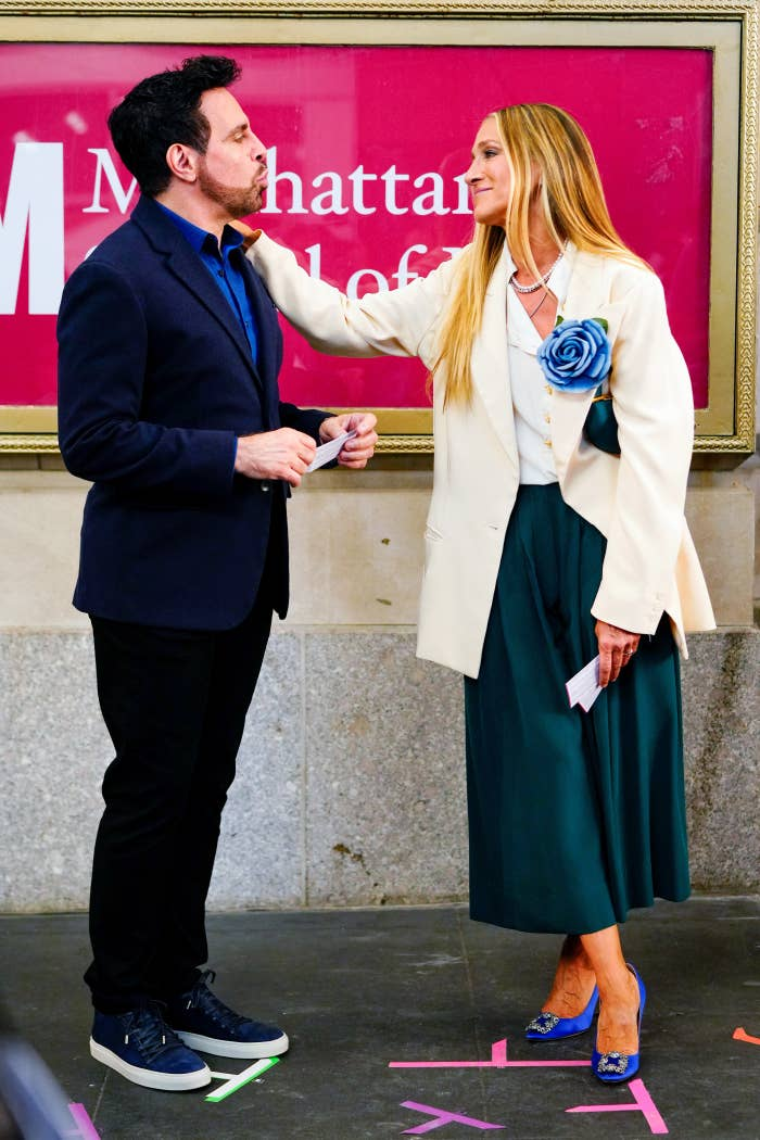 Mario Cantone and Sarah Jessica Parker are pictured filming And Just Like That... in New York City in July of 2021