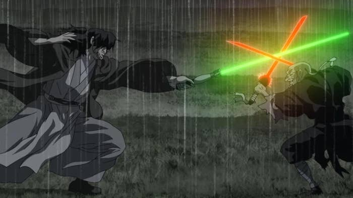 Two anime characters have lightsaber duel