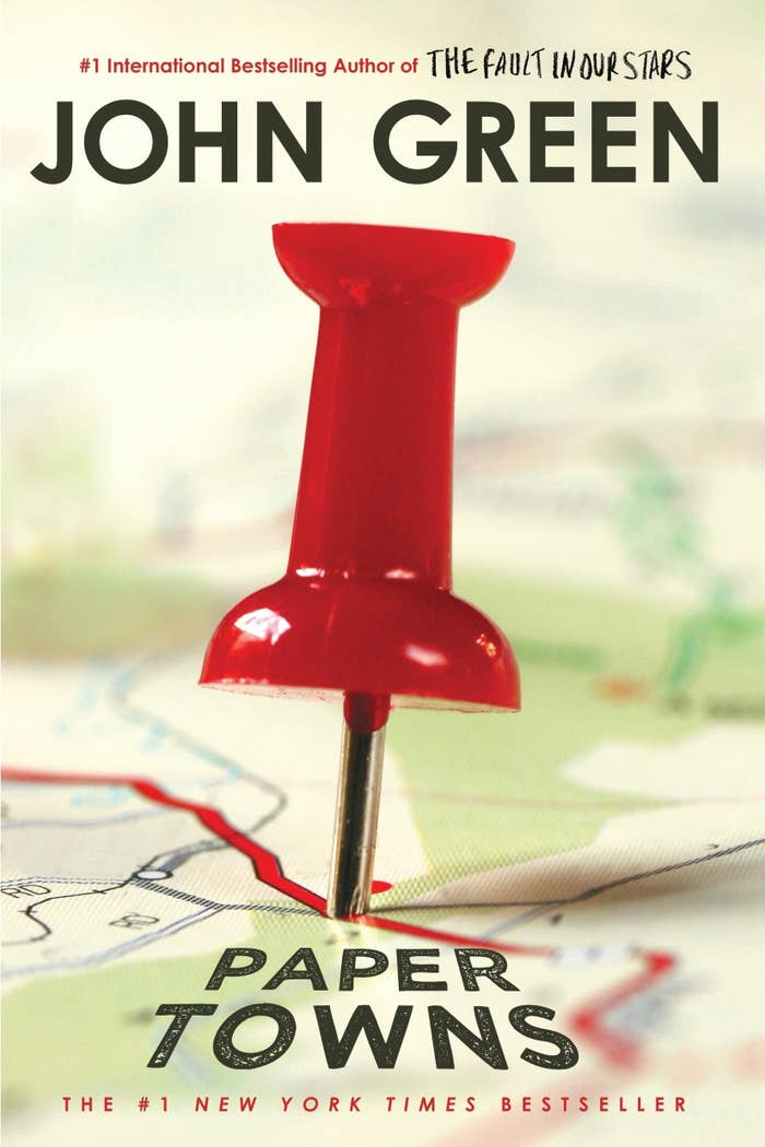 Book cover of Paper Towns by John Green; Photo of a road map with a red pin in the center
