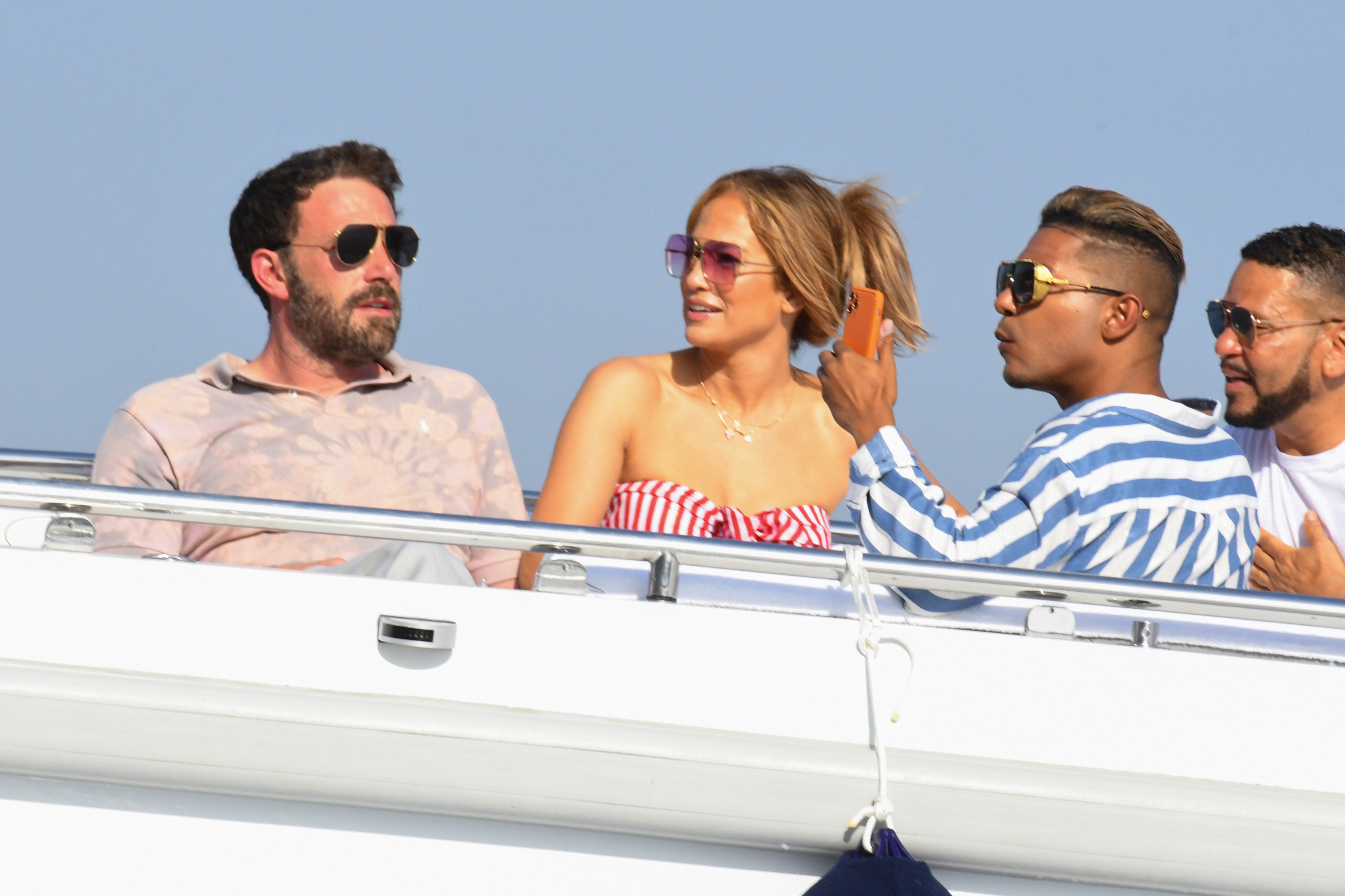Ben Affleck and Jennifer Lopez are photographed on a boat in Amalfi, Italy