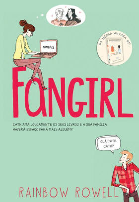 Mint green book cover with FANGIRL in red and illustrations of main characters