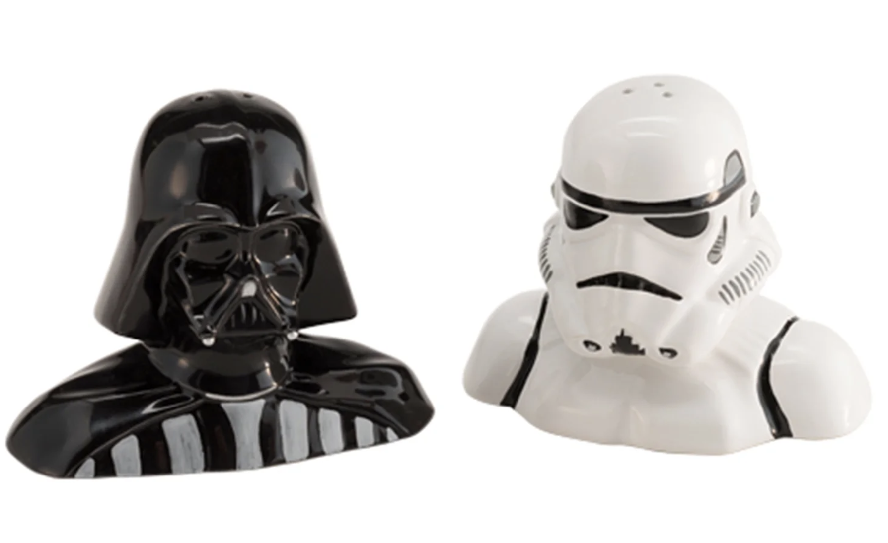 one darth vador pepper shaker shaped from the shoulders up and a matching storm trooper version for salt