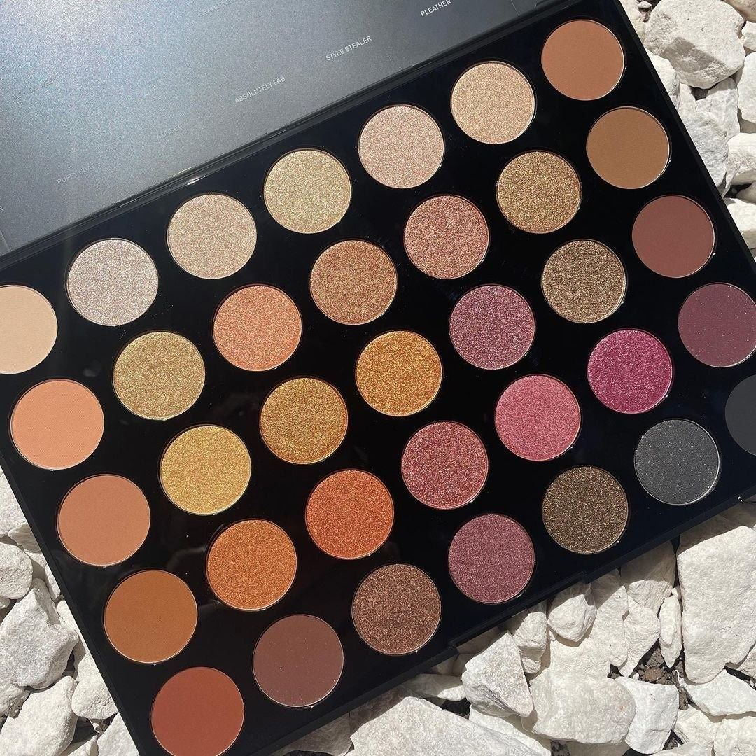 a fall makeup palette with 35 colors