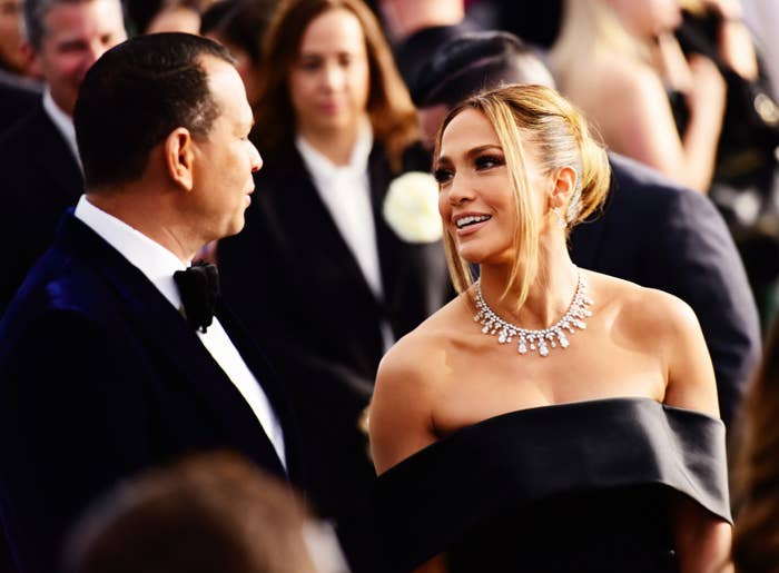 Alex Rodriguez and Jennifer Lopez are photographed at the 2020 Screen Actors Guild Awards in Los Angeles