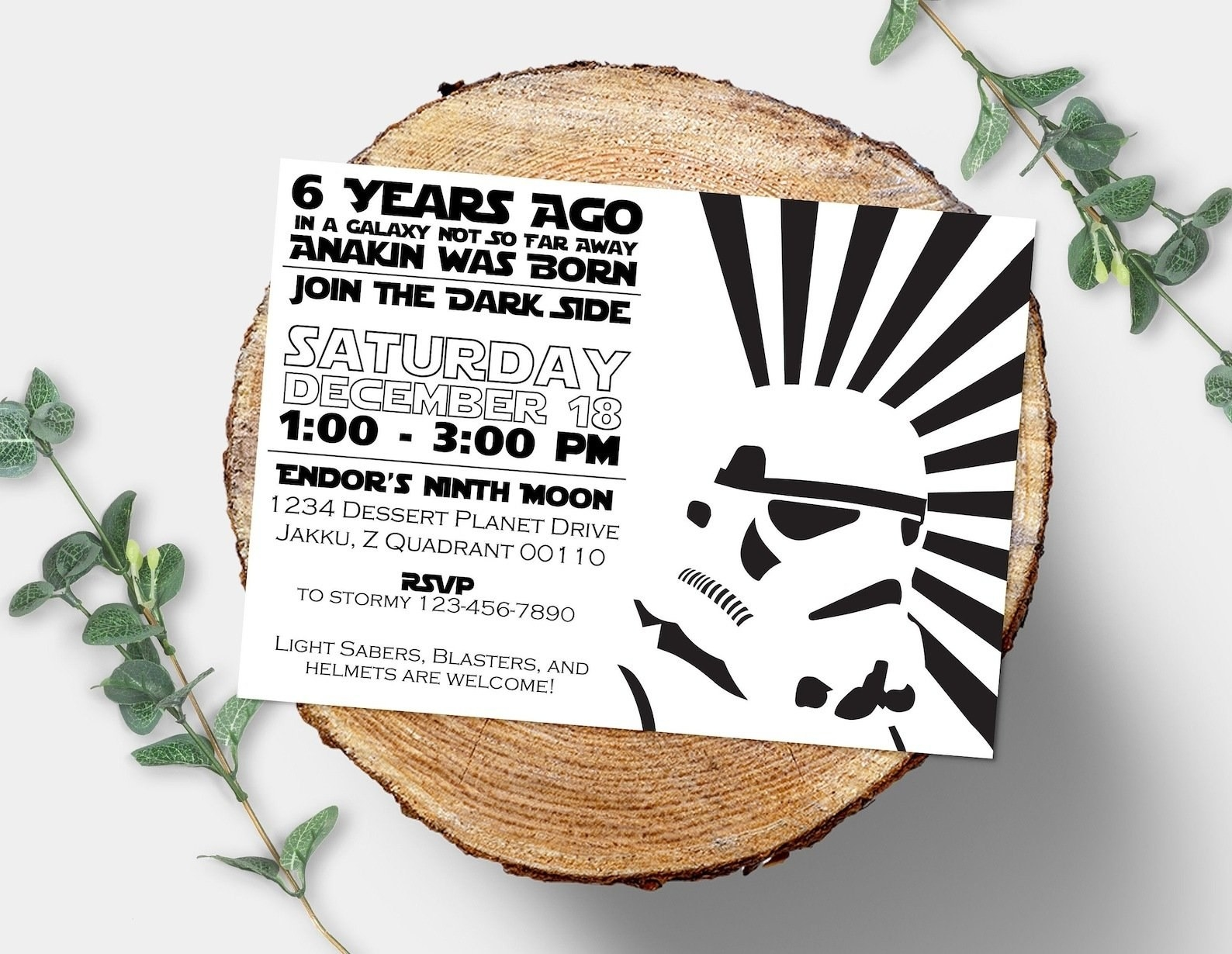 storm trooper card with rsvp and address information
