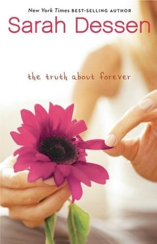 Book cover for The Truth About Forever; cover shows a girl holding a pink flower
