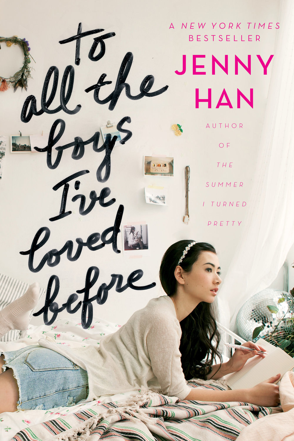 book cover of a teenage girl writing a letter in bed